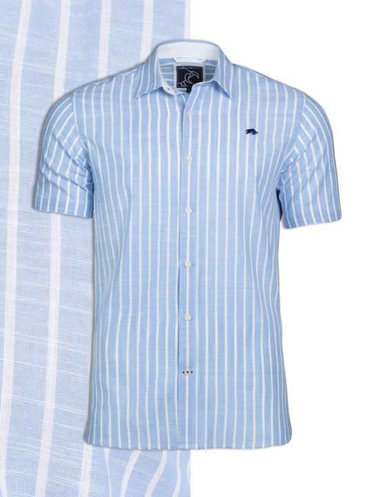 Raging Bull - Short Sleeve Bengal Stripe Shirt - Sky Blue