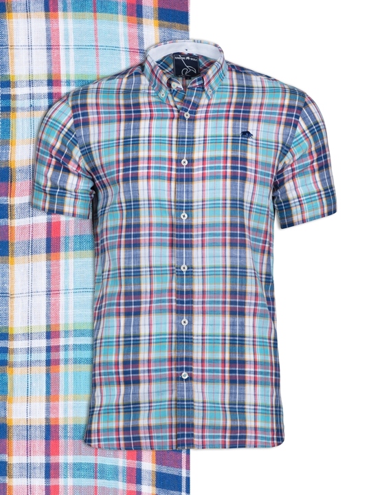 Raging Bull - Short Sleeve Slub Check Shirt - Navy
