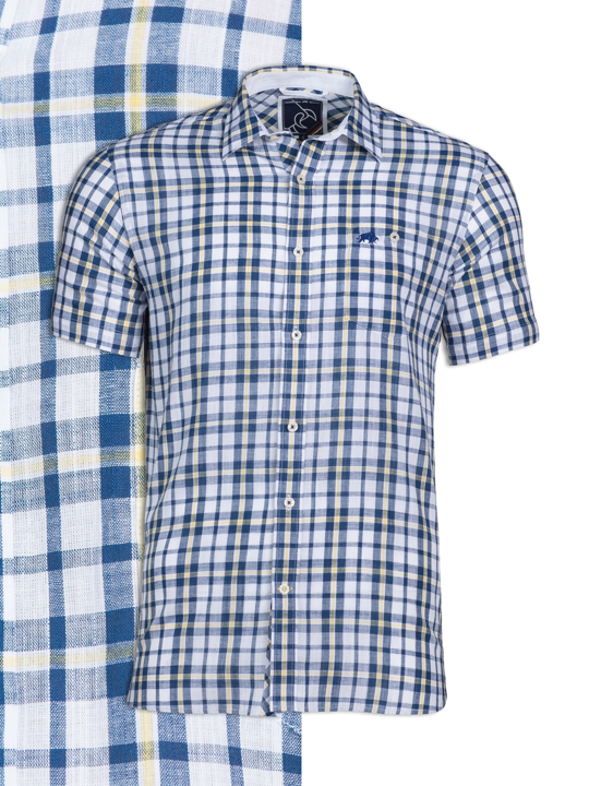 Raging Bull - Short Sleeve Yarn Dyed Check Shirt - White