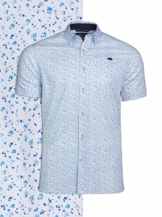 Raging Bull Big & Tall Short Sleeve Ditzy Floral Print Shirt - White