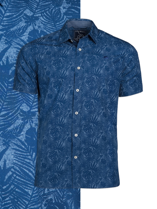 Raging Bull Big & Tall - Short Sleeve Hibiscus Print Shirt - Navy