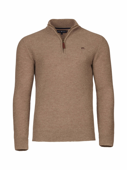 Raging Bull - Honeycomb Knit Quarter Zip - Biscuit