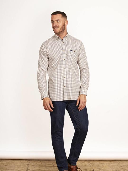 Raging Bull - Big & Tall - Long Sleeve Window Pane Shirt - Claret