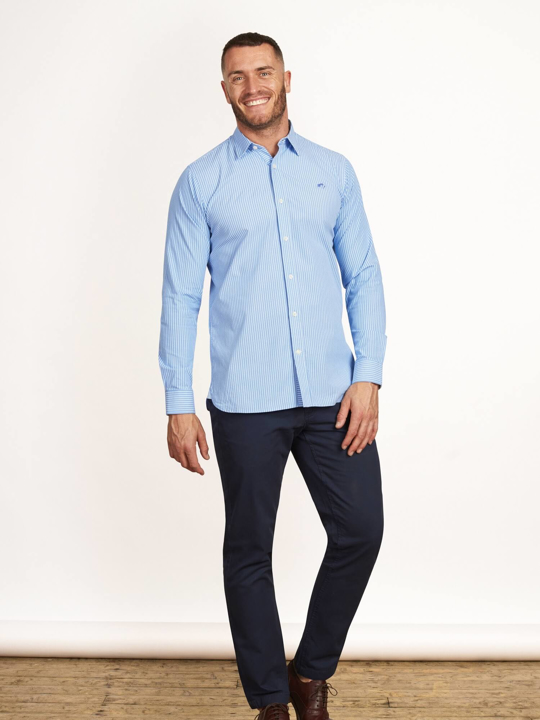 Raging Bull - Big & Tall - Long Sleeve Pinstripe Poplin Shirt - Sky Blue