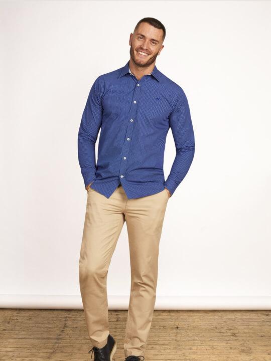 Raging Bull - Big & Tall - Long Sleeve Polka Dot Print Shirt - Mid Blue