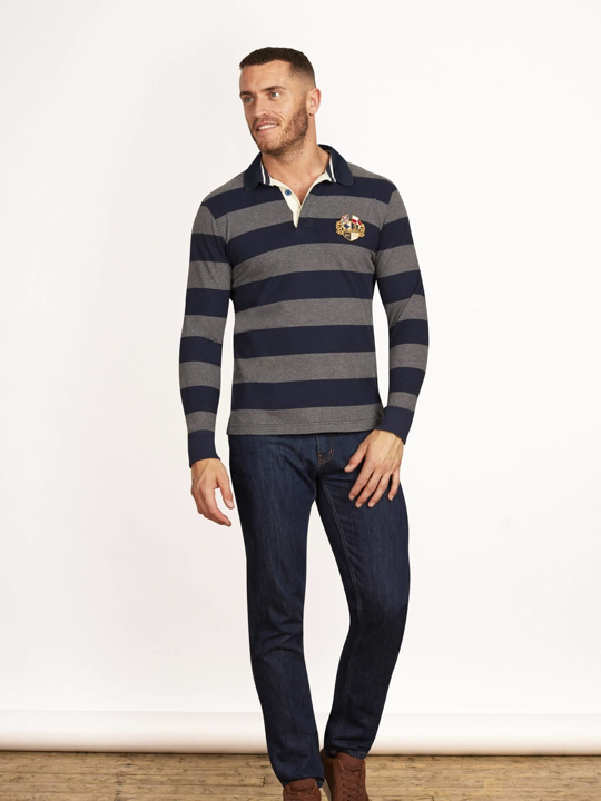 Raging Bull - Long Sleeve Hooped Rugby - Navy/Grey