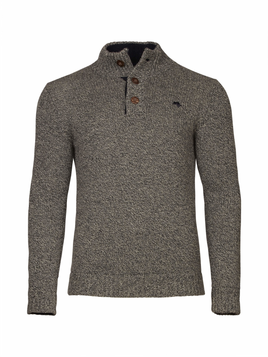 Raging Bull - Salt & Pepper Button Knit - Charcoal