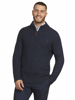 Raging Bull Cable Knit Quarter Zip - Navy