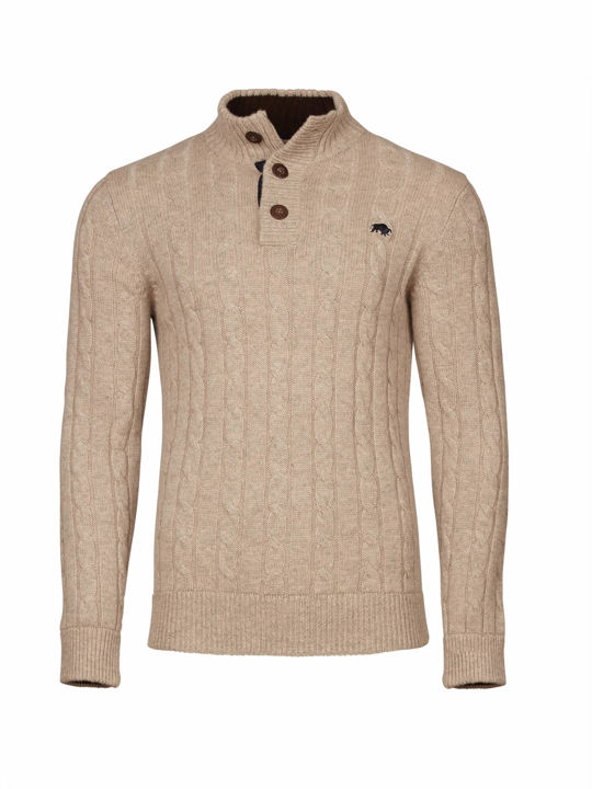 Raging Bull - Cable Knit Button Up - Oatmeal
