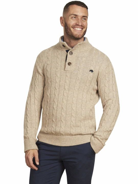 Raging Bull - Big & Tall - Cable Knit Button Up - Oatmeal