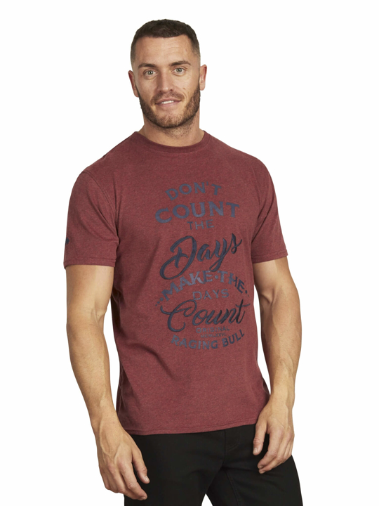 Raging Bull - Count the Days Tee - Claret