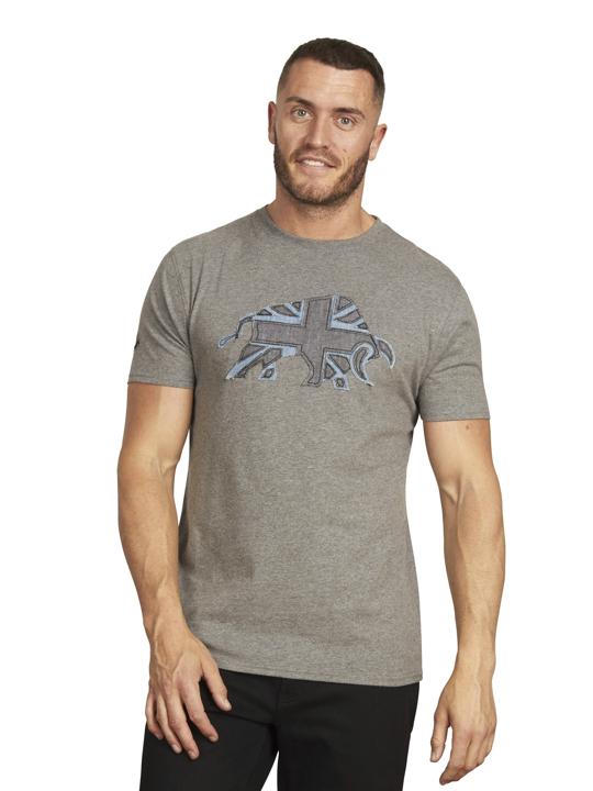 Raging Bull - Big & Tall - Union Jack Bull Tee - Dark Grey