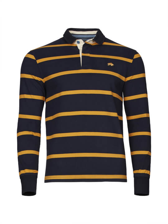 Raging Bull Big & Tall - Long Sleeve Stripe Rugby - Navy/Yellow