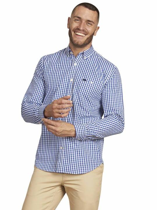 Raging Bull - Big & Tall - Long Sleeve Signature Gingham Shirt - Navy