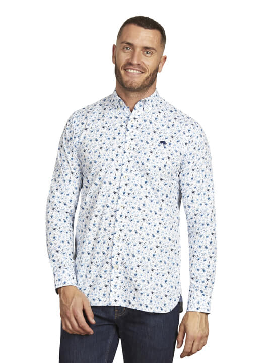 Raging Bull - Long Sleeve Blossom Print Shirt - White