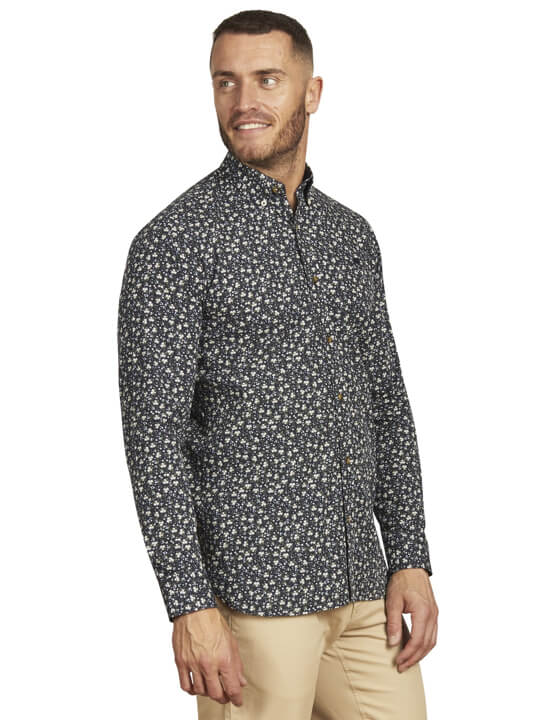 Raging Bull - Long Sleeve Ditzy Floral Shirt - Navy