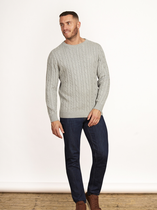 Raging Bull - Signature Cable Knit Crew Neck - Grey Marl