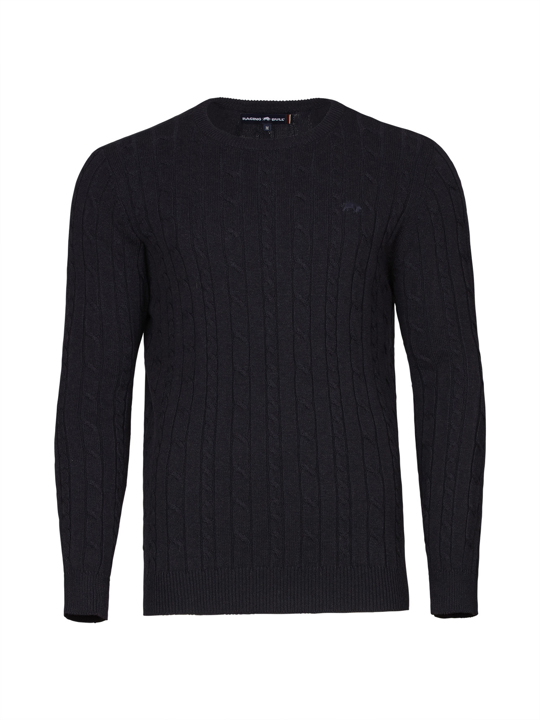 Raging Bull Signature Cable Knit Crew Neck - Navy