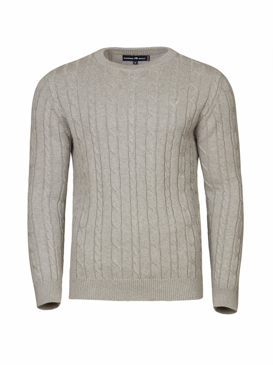 Raging Bull - Big & Tall - Signature Cable Knit Crew Neck - Grey Marl