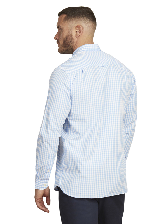 Raging Bull - Long Sleeve Signature Gingham Shirt - Sky Blue