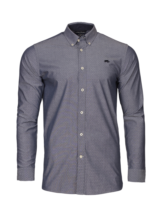 Raging Bull - Long Sleeve Chambray Dobby Shirt - Denim Blue