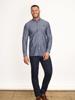 Raging Bull Long Sleeve Chambray Dobby Shirt - Denim Blue