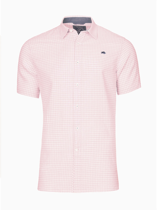 Raging Bull - Short Sleeve Linen Look Gingham Shirt - Pink