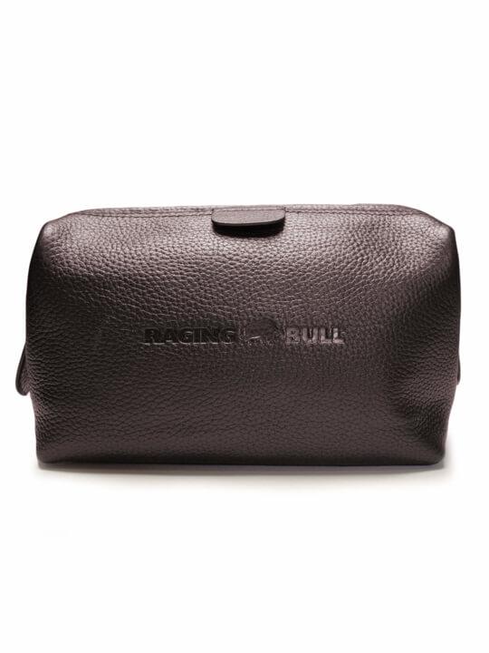 Raging Bull Leather Wash Bag - Brown