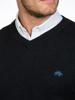 Raging Bull V-Neck Cotton/Cashmere Sweater - Black