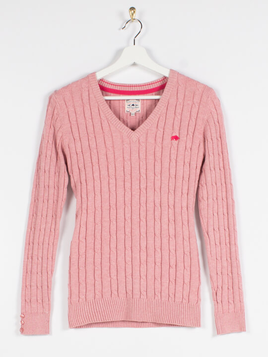 Raging Bull Cable Knit V-Neck Jumper - Pink