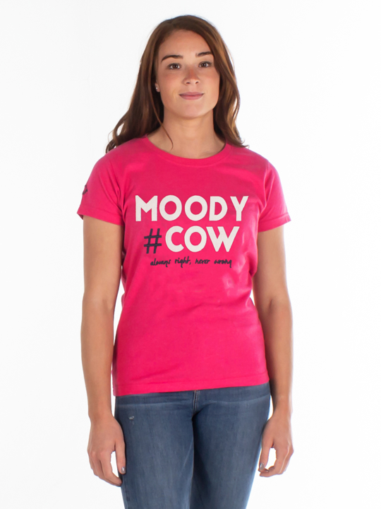 Raging Bull - Moody Cow Applique Tee - Vivid Pink