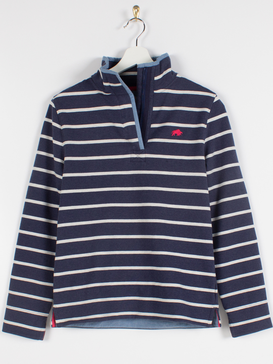 Raging Bull - Yarn Dyed Stripe Quarter Zip  - Navy