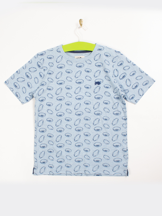 Raging Bull - Rugby Ball All-over Print Tee - Sky Blue