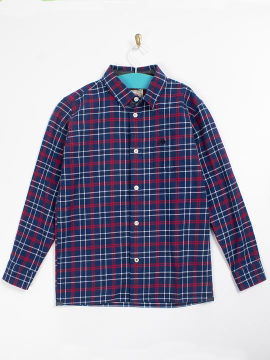Raging Bull - Brushed Cotton Check Long Sleeve Shirt - Navy