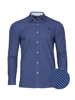 Raging Bull Long Sleeve Polka Dot Print Shirt - Mid Blue