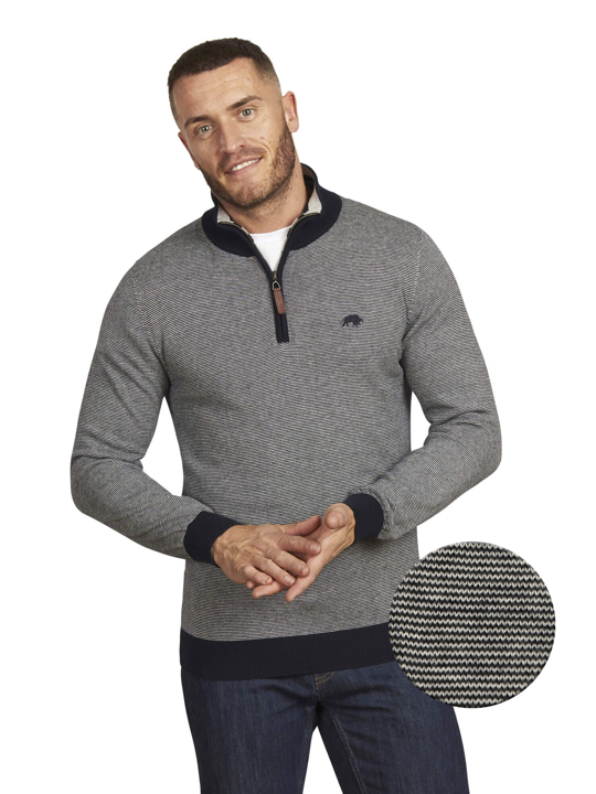 Raging Bull - Feeder Stripe Quarter Zip Knit - Navy