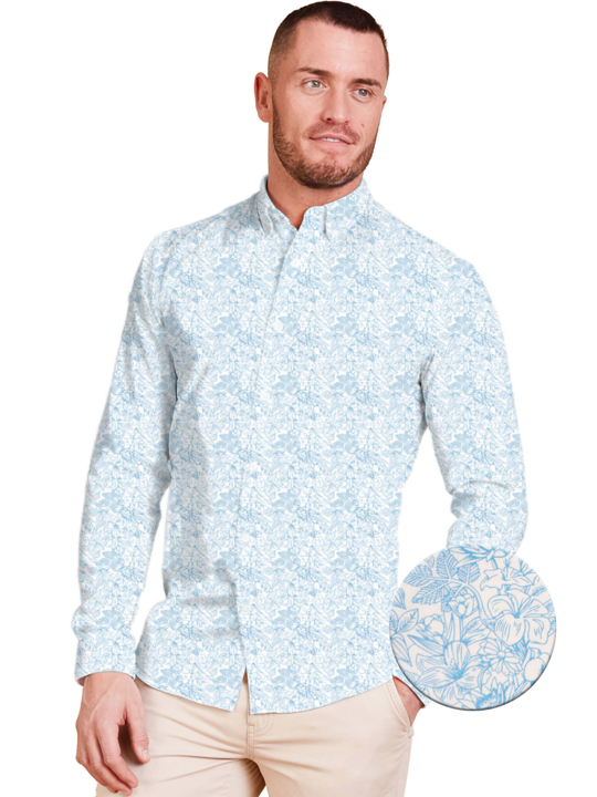 Raging Bull - Big & Tall - Long Sleeve Floral Print Shirt - White