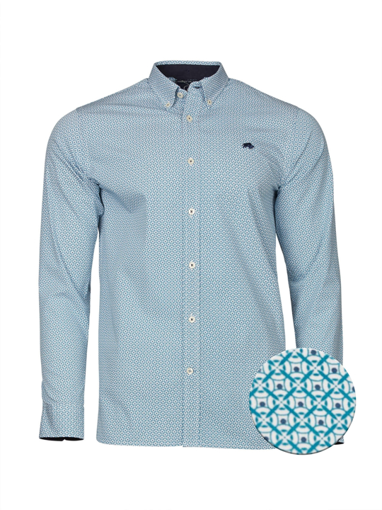 Raging Bull - Big & Tall - Long Sleeve Geo Print Shirt - Teal