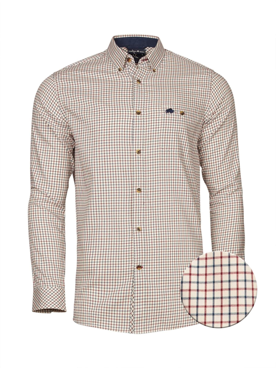 Raging Bull - Long Sleeve Window Pane Shirt - Claret