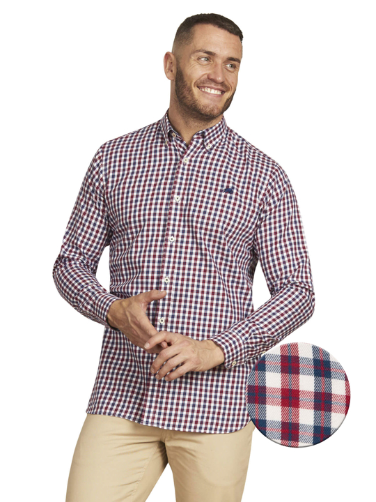 Raging Bull - Long Sleeve 3 Colour Check Shirt - Claret