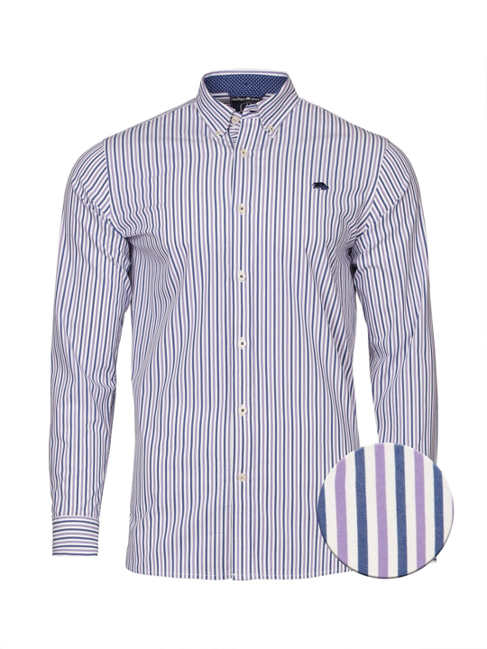 Raging Bull - Big & Tall - Long Sleeve Bengal Stripe Shirt - Purple