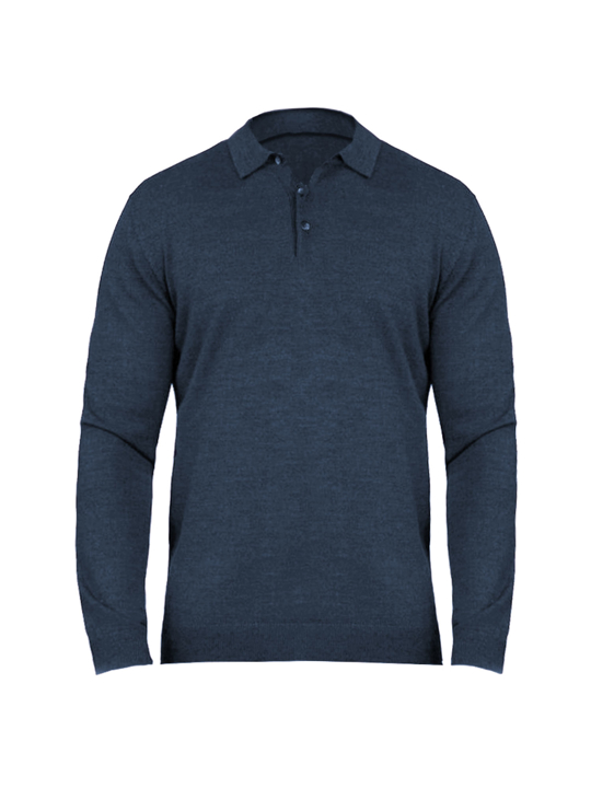 Raging Bull - Big & Tall - Long Sleeve Signature Knitted Polo - Navy