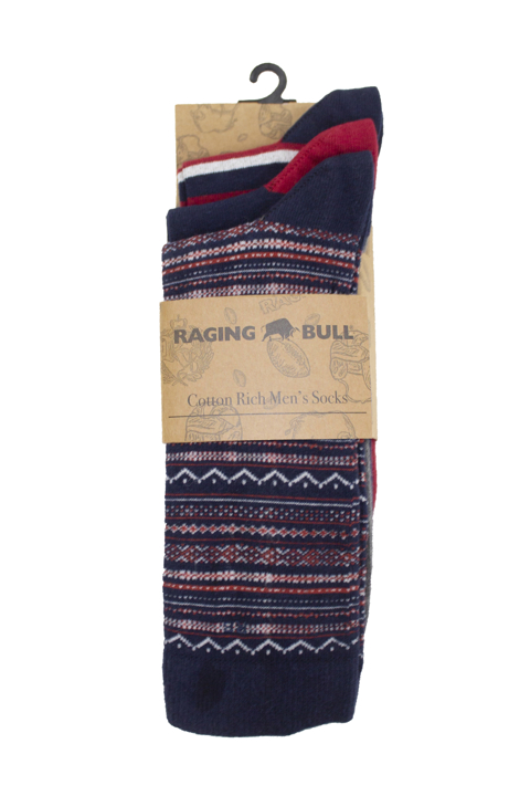 Raging Bull - Three Pack Cotton Mix Socks - Red