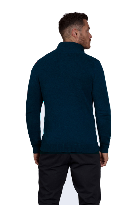 Raging Bull - Knitted Cotton/Cashmere Quarter Zip - Navy