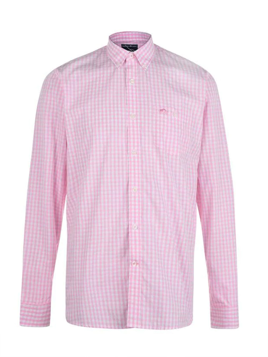 Raging Bull - Big & Tall - Long Sleeve Signature Gingham Shirt - Pink