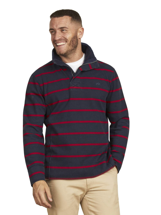 Raging Bull - Pigment Stripe Quarter Zip - Navy/Red