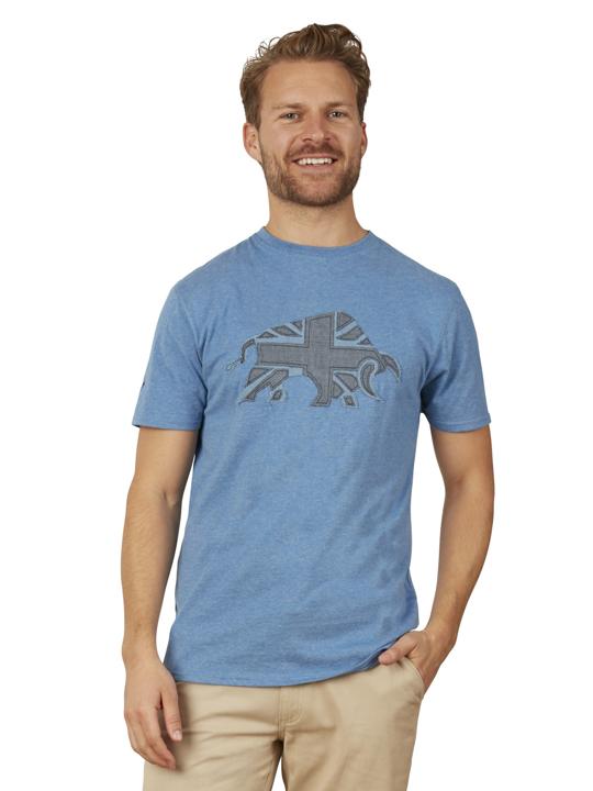Raging Bull - Embroidered Bull Tee - Denim Blue