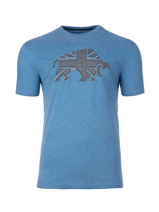 Raging Bull - Big & Tall  Embroidered Bull Tee - Denim Blue