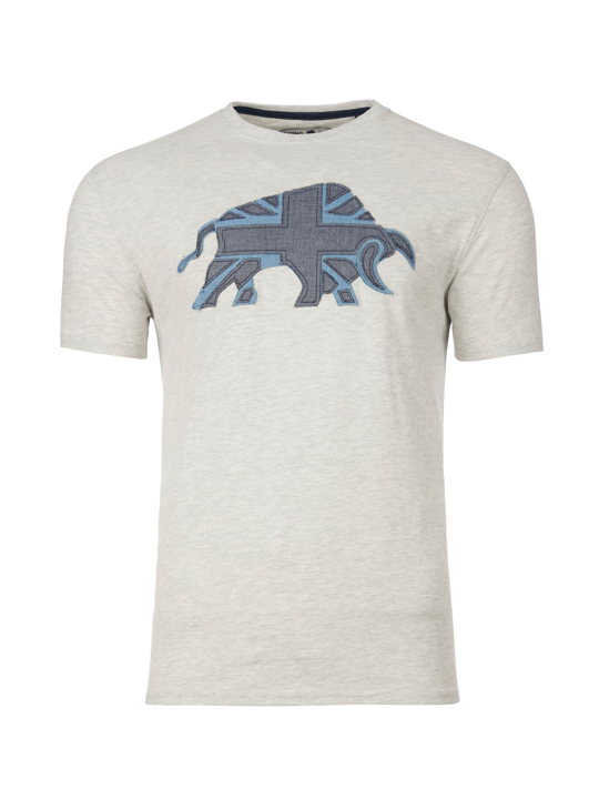 Raging Bull - Embroidered Bull Tee - Grey Marl