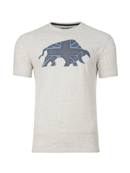 Raging Bull Embroidered Bull Tee - Grey Marl